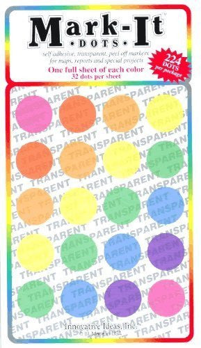 "Large 3/4"" removable transparent Mark-it brand dots for maps, reports or projects - seven color pack"