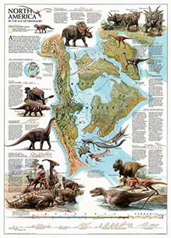 Dinosaurs of North America Map Poster 22 x 32in