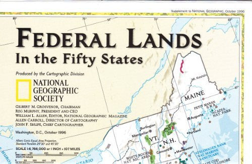 Federal Lands in the Fifty States/United States the Physical Landscape - Wide World Maps & MORE! - Office Product - National Geographic - Wide World Maps & MORE!