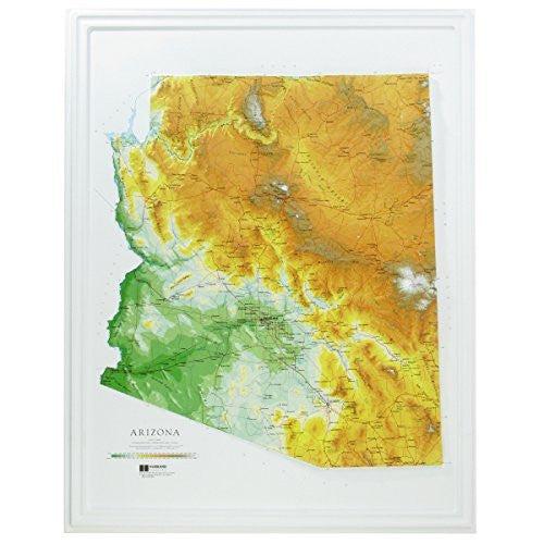 Hubbard Scientific Raised Relief Map 961 Arizona State Map
