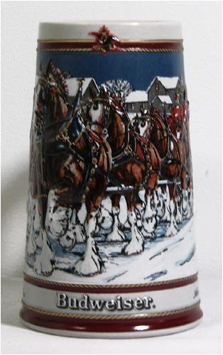 us topo - 1989 Budweiser Holiday Stein Special Edition Ceramarte Brazil - Wide World Maps & MORE! - Kitchen - Unknown - Wide World Maps & MORE!