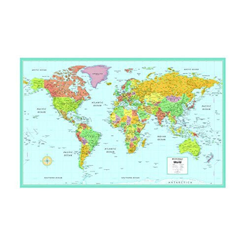 "us topo - Rand McNally M Series Deluxe World Wall Map, Laminated, 50"" x 32"", Includes Plastic Rod/Hangers (RM528959972) - Wide World Maps & MORE! - Office Product - Rand McNally - Wide World Maps & MORE!"