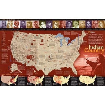 "us topo - Indian Country Map Poster (36""×23"") - Wide World Maps & MORE! - Map - National Geographic Maps - Wide World Maps & MORE!"