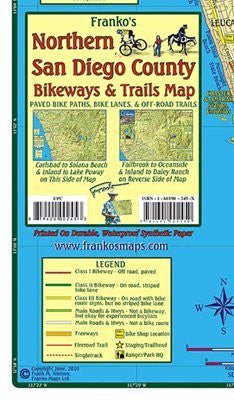 FRANKO MAPS MAP FML CA SAN DIEGO COUNTY TRAILS NORTH