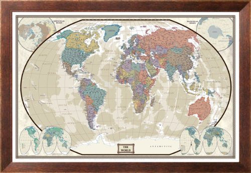 us topo - World Political Map, Executive Style Maps Framed Art Poster Print, 47x32 - Wide World Maps & MORE! - Home - Swiftmaps - Wide World Maps & MORE!