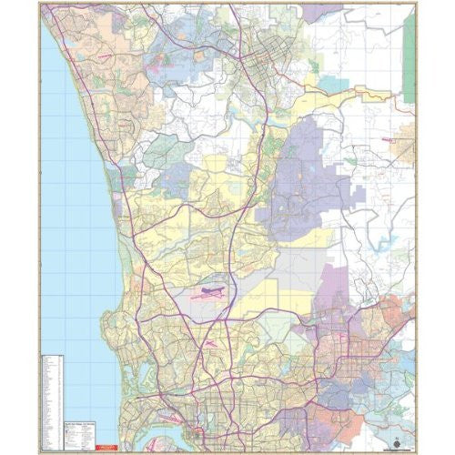 Universal Map 762552271 San Diego CA North Vicinity Wall Map Railed