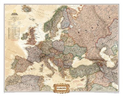 Europe Political Map, Executive Style Art Poster Print, 46x36 Poster Print, 46x36