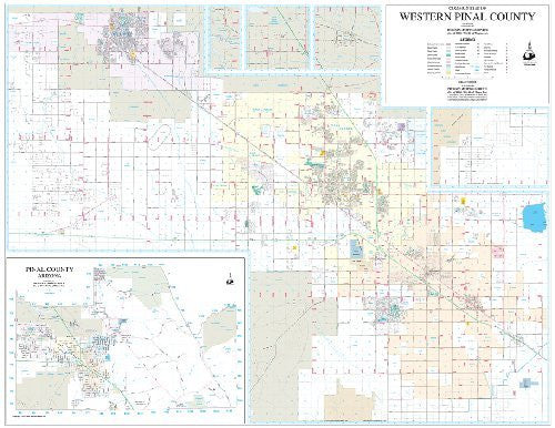 Communities of Western Pinal County Wall Map Dry Erase Laminated