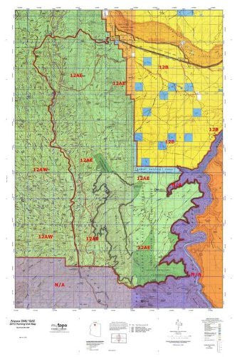 Arizona 12AE Hunt Area / Game Management Unit (GMU) Map - Wide World Maps & MORE! - Map - MyTopo - Wide World Maps & MORE!