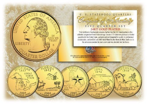 2004 US Statehood Quarters 24K GOLD PLATED ** 5-Coin Complete Set ** w/Capsules - Wide World Maps & MORE! - Collectible - Merrick Mint - Wide World Maps & MORE!