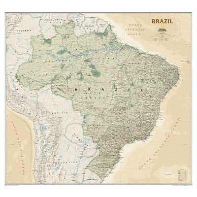 us topo - Brazil Executive Wall Map Material: Laminated - Wide World Maps & MORE! - Office Product - National Geographic Maps - Wide World Maps & MORE!