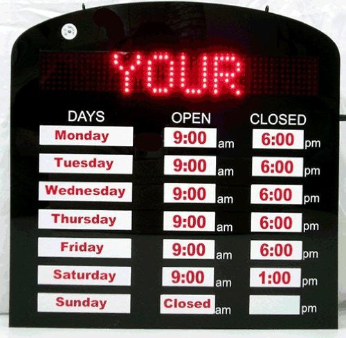 Programmable Business Hour Sign