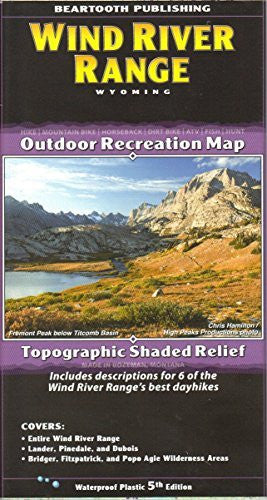 Wind River Range Outdoor Recreation Map Topographic Shaded Relief