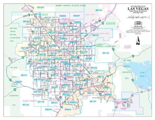Metropolitan Las Vegas Major Streets and Freeways with ZIP Codes Gloss Laminated - 10 Count