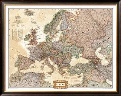 Europe Political Map, Executive Style Framed Art Poster Print, 50x40