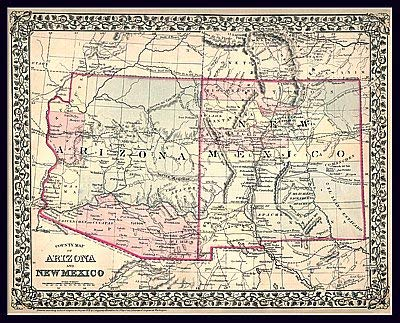 Map Of Arizona And New Mexico.1879 County Map Of Arizona And New Mexico Satin Ready To Hang Wide