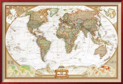 World Political Map, Executive Style Framed Art Poster Print, 47x32
