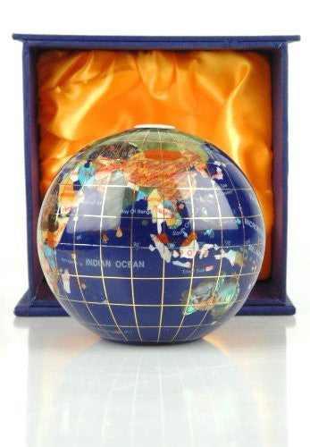 110MM Blue Lapis Gemstone World Globe Paperweight
