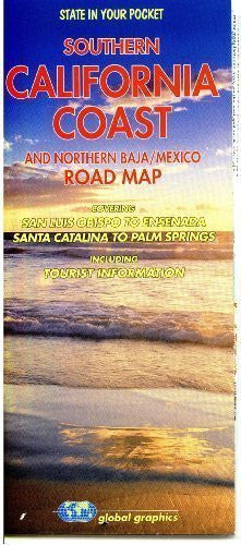 Southern California Coast and Northern Baja/Mexico Road Map Gloss Laminated