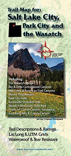 us topo - Adventure Maps Salt Lake City, Park City and the Wasatch Trail Map - Wide World Maps & MORE! - Office Product - Adventure Maps - Wide World Maps & MORE!