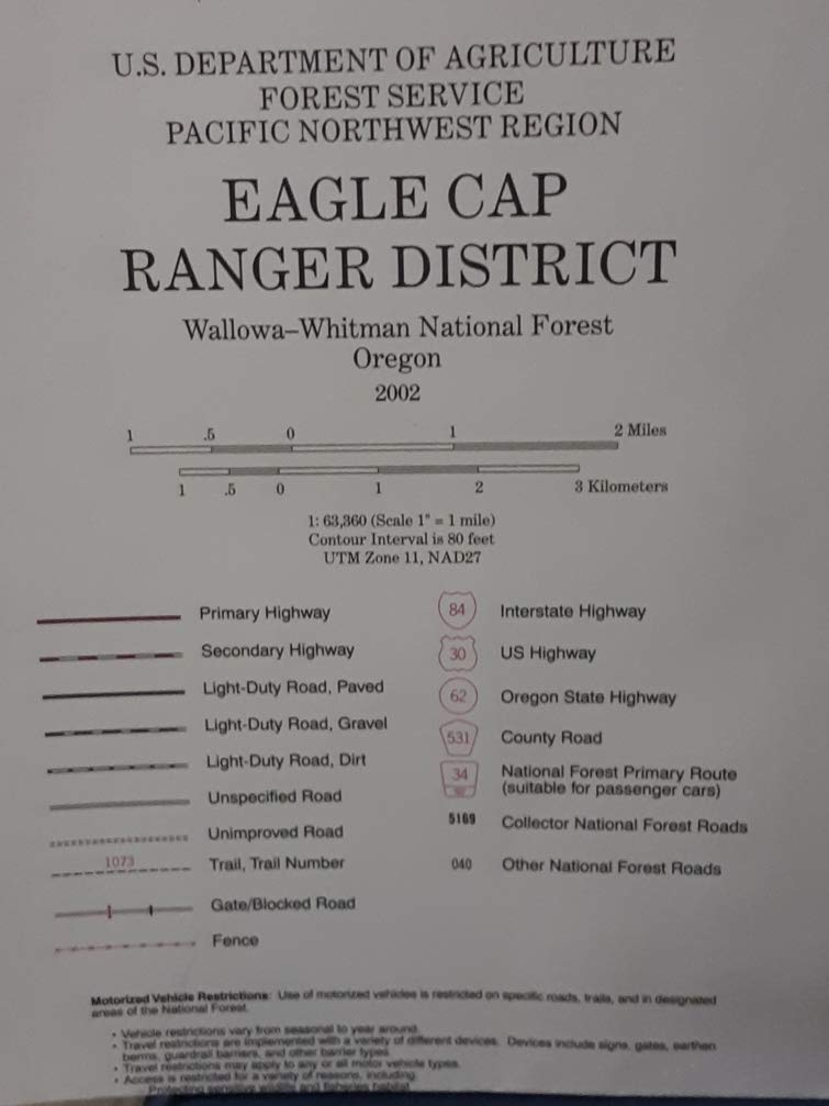 Eagle Cap Ranger District Map - Wallowa Whitman National Forest