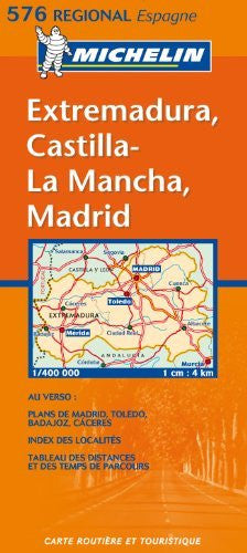 Michelin Map Spain Central: Extremadura, Castilla-La Mancha, Madrid 576