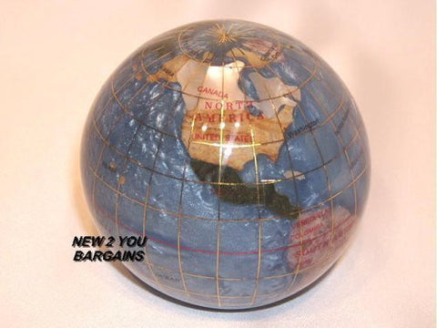 "Marine Blue 3"" Gemstone Globe Paperweight in Gift Box"