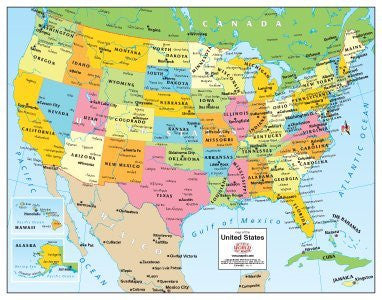 Colorful Political United States Desk Map Paper, Non-Laminated