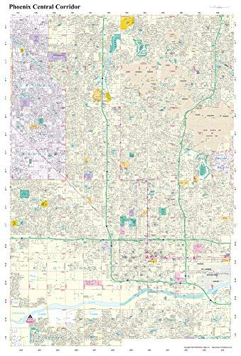 Phoenix Central Corridor Full-Size Dry Erase Ready-to-Hang - Wide World Maps & MORE!