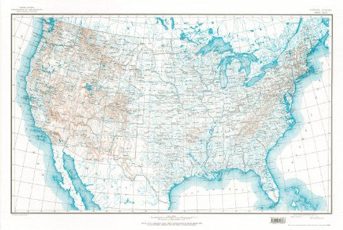United States Map 7B Base Map with Contours (TUS5363)