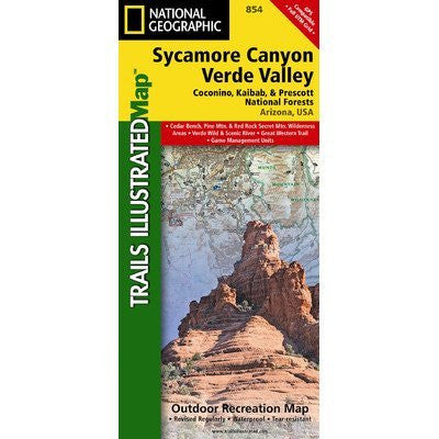 Sycamore Canyon and Verde Valley Wilderness, Coconino, Kaibab and Prescott National Forests Map