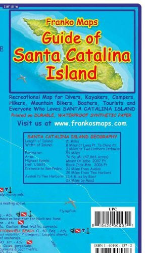 Santa Catalina Island California Adventure & Dive Guide Franko Maps Waterproof Map