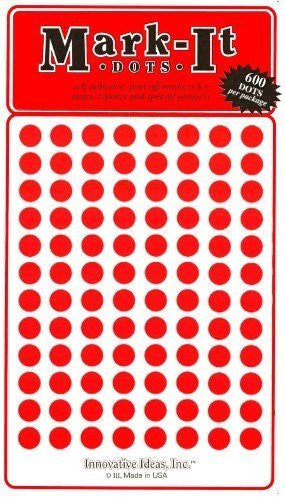"Map Dot Stickers - 1/4"" Diameter - Red"