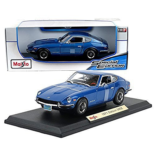 "Maisto Year 2015 Special Edition Series 1:18 Scale Die Cast Car Set - Metallic Blue Color Classic 2-Seat Sports Coupe 1971 Nissan DATSUN 240Z with Display Base (Car Dimension: 9"" x 3-1/2"" x 2-1/2"")"