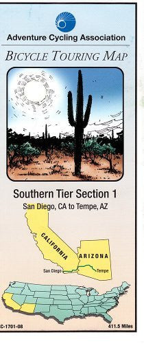 us topo - Bicycle Touring Map - Southern Tier #1 San Diego,CA to Tempe AZ - Wide World Maps & MORE! - Book - Wide World Maps & MORE! - Wide World Maps & MORE!
