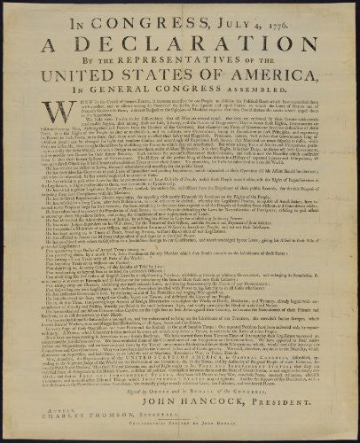 Declaration of Independence: Newsprint Edition -- Matte Laminated