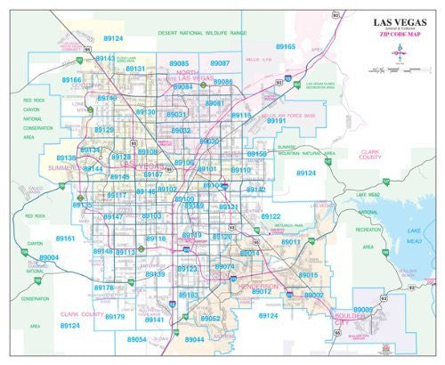 Las Vegas Arterial & Collector ZIP Code Wall Map Paper, Non-Laminated