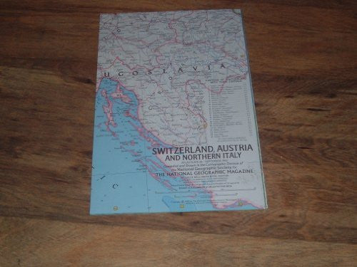 National Geographic September 1965 Map Supplement of Switzerland, Austria & Northern Italy.