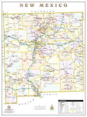 New Mexico Counties & Roads Wall Map Dry Erase Laminated