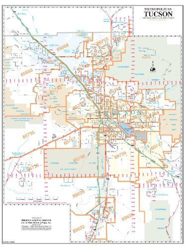 Metropolitan Tucson Arterial and Collector Streets ZIP Codes Wall Map Dry Erase Laminated