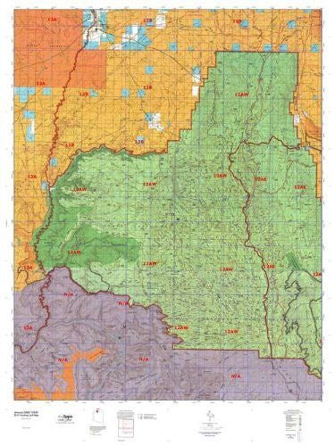 Arizona 12AW Hunt Area / Game Management Units (GMU) Map