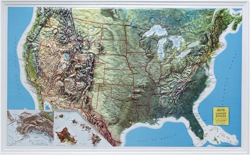 Hubbard Scientific 432 U.S. Relief Map, 34 x 21 Inch, Rand