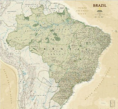 us topo - National Geographic Maps RE01020612 Brazil Executive Wall Map - Tubed - Wide World Maps & MORE! - Toy - National Geographic - Wide World Maps & MORE!
