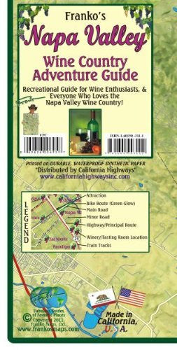 Napa Valley Wine Country Adventure Guide Franko Maps Waterproof Map