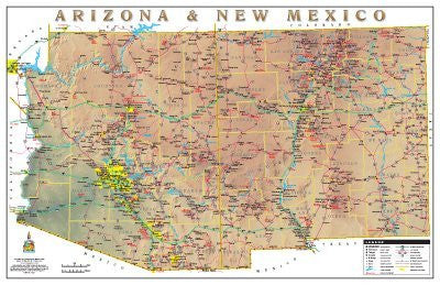 Arizona & New Mexico Physical Highways Wall Map Gloss Laminated