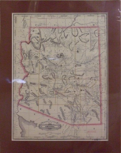 1887 Railroad & County Map of Arizona Small Matted & Mounted
