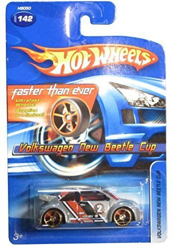 2005 Hot Wheels Volkswagen New Beetle Cup Grey FTE Wheel Variant #142 by Mattel - Wide World Maps & MORE! - Toy - Wide World Maps & MORE! - Wide World Maps & MORE!