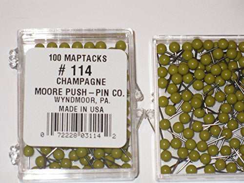 1/8 Inch Map Tacks - Champagne