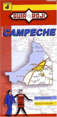 Campeche State Map Guia Roji 1:770 000 (English and Spanish Edition)