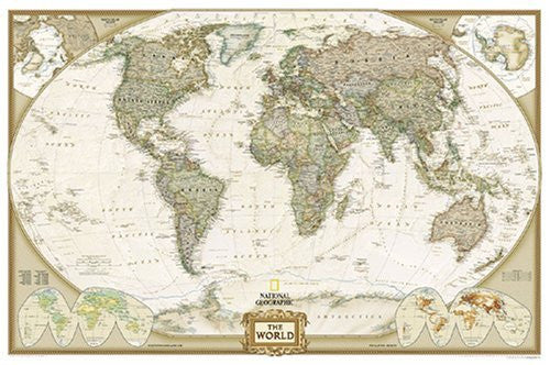 National Geographic Executive Laminated Wall Map, World, 43 1/2in. x 30in.